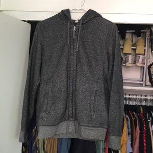 Uniqlo Cozy Zip Up Cotton Gray Hooded Sweatshirt